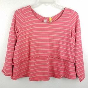 FREE PEOPLE Striped Sweater Cropped Blouse